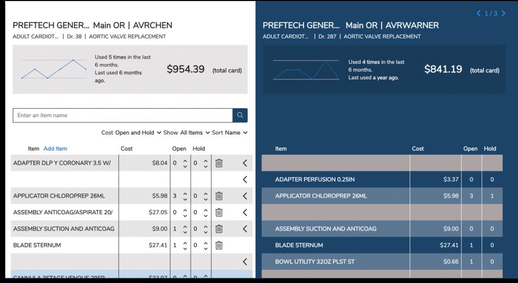 preference card comparison tool